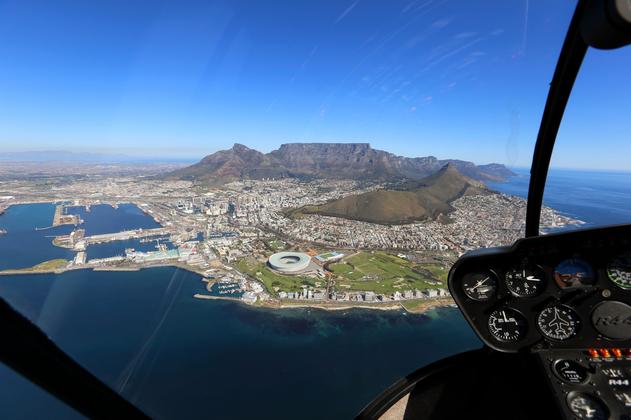 View of Cape Town from helicopter.