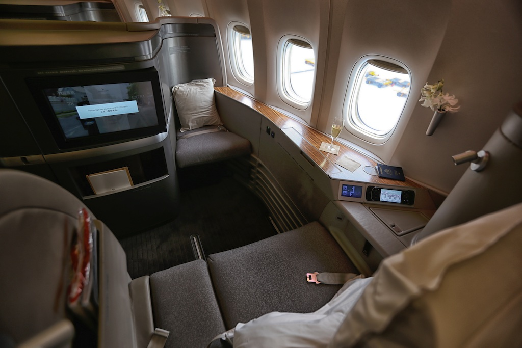 First class seat on Cathay Pacific.