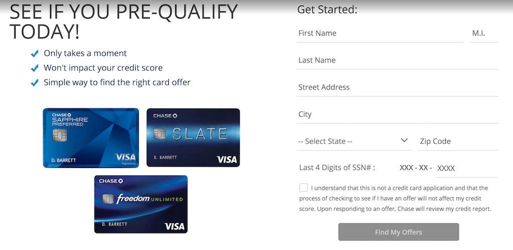 Chase credit card pre-approval