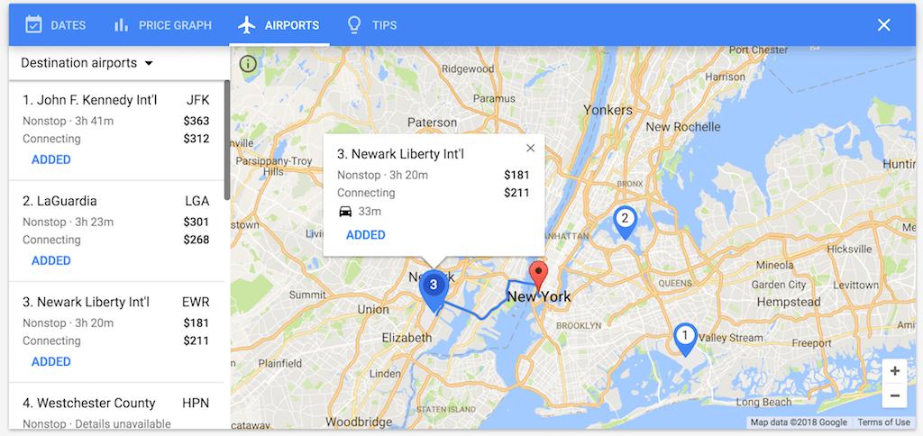 Google Flights airports