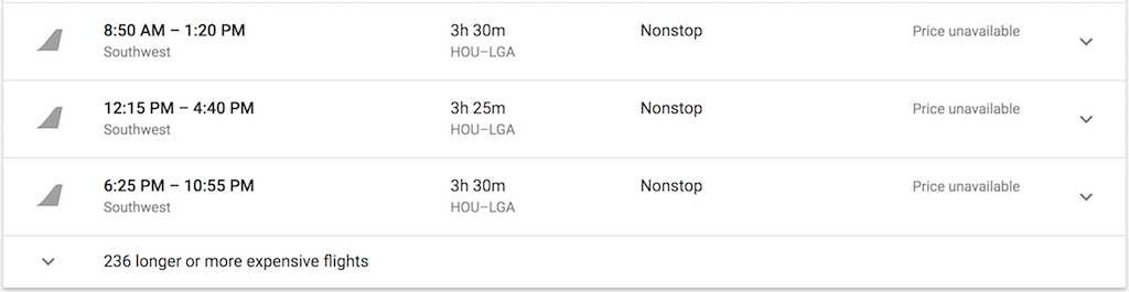 Google Flights Southwest