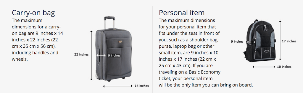 United Airlines baggage policy