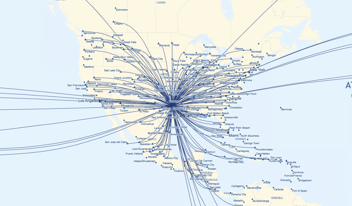 Route map of American Airlines flights out of Dallas.