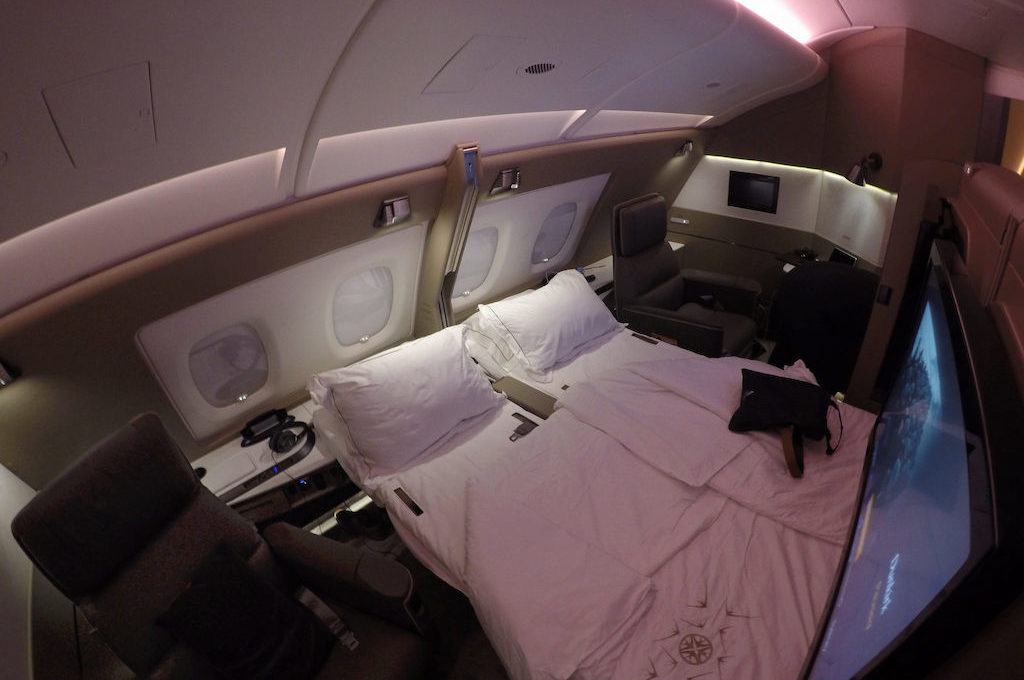 Double bed in Singapore Airlines first class suite