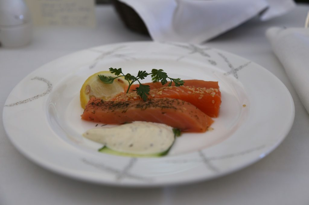Dish with slices of fish.