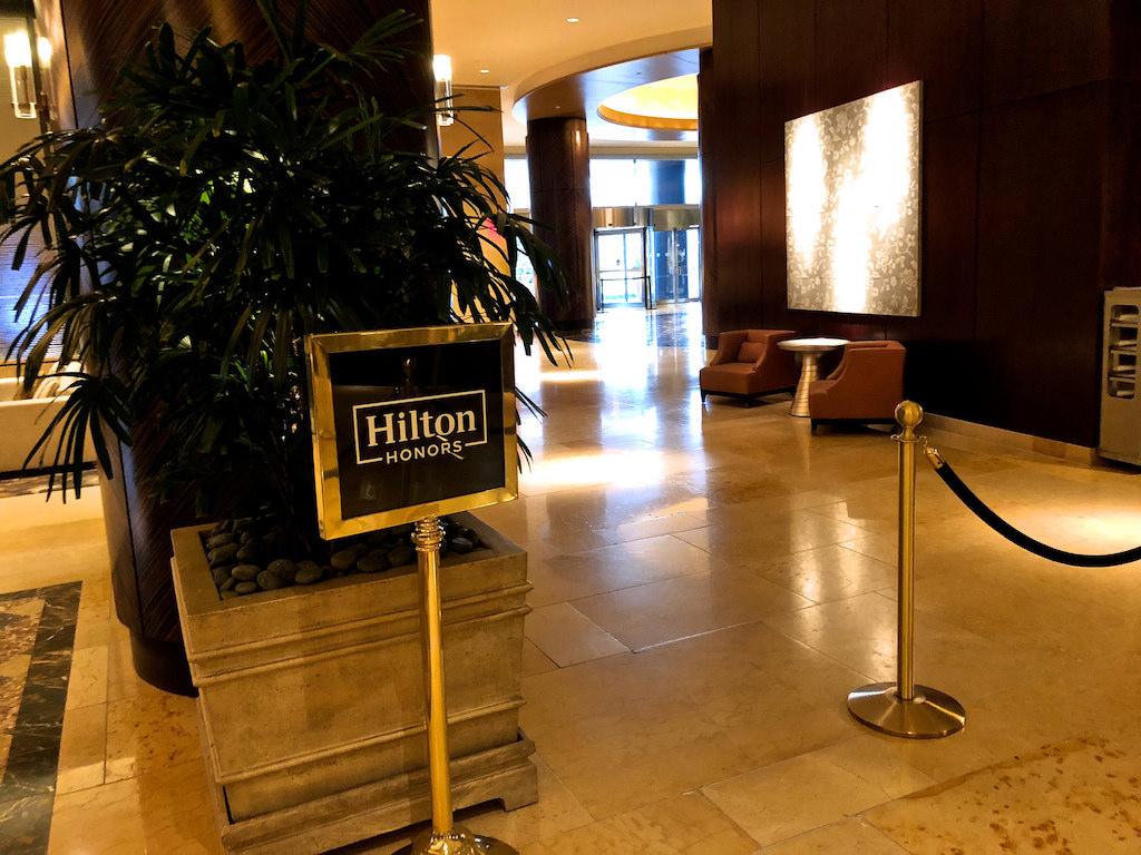 Photo of a Hilton entrance at a hotel lobby