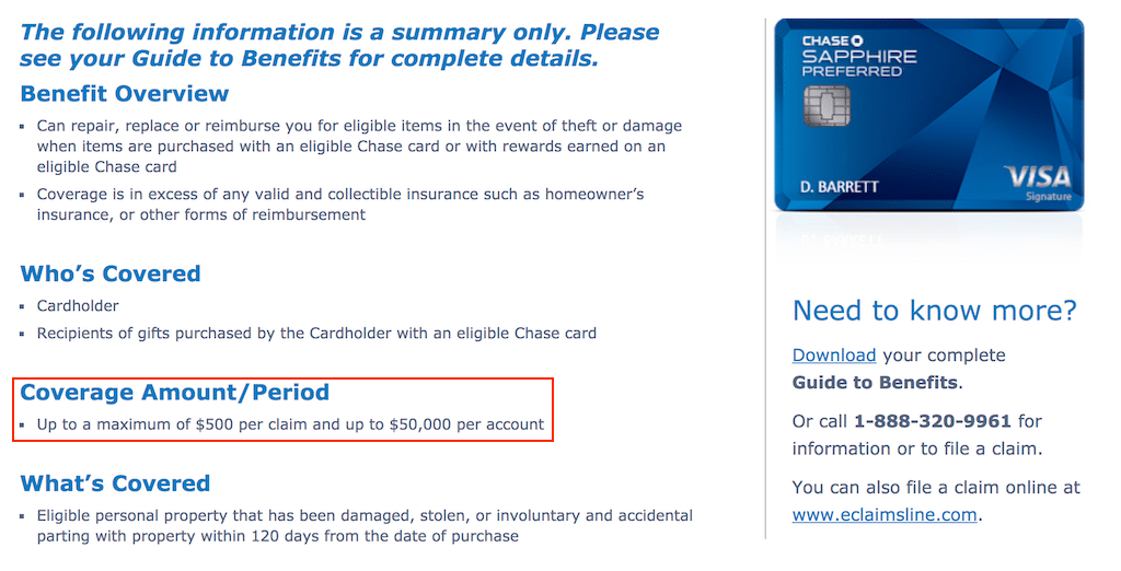 Chase Sapphire Purchase Protection