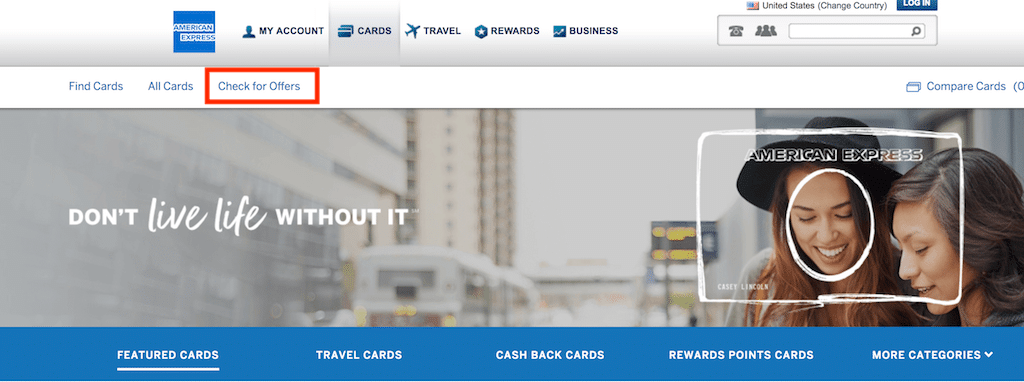 Picture of the main login page for American Express