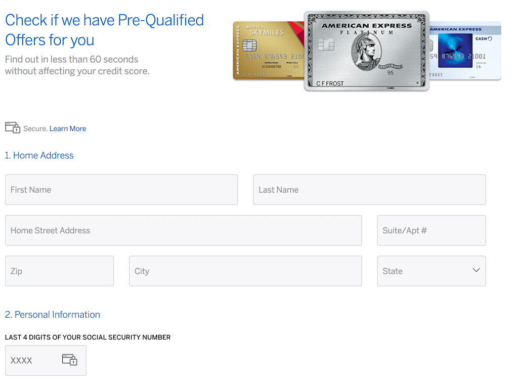 Screenshot of the page asking for personal information
