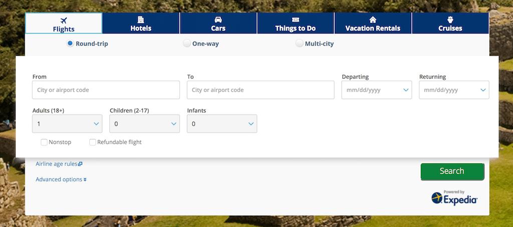 Photo of Chase travel portal booking menu