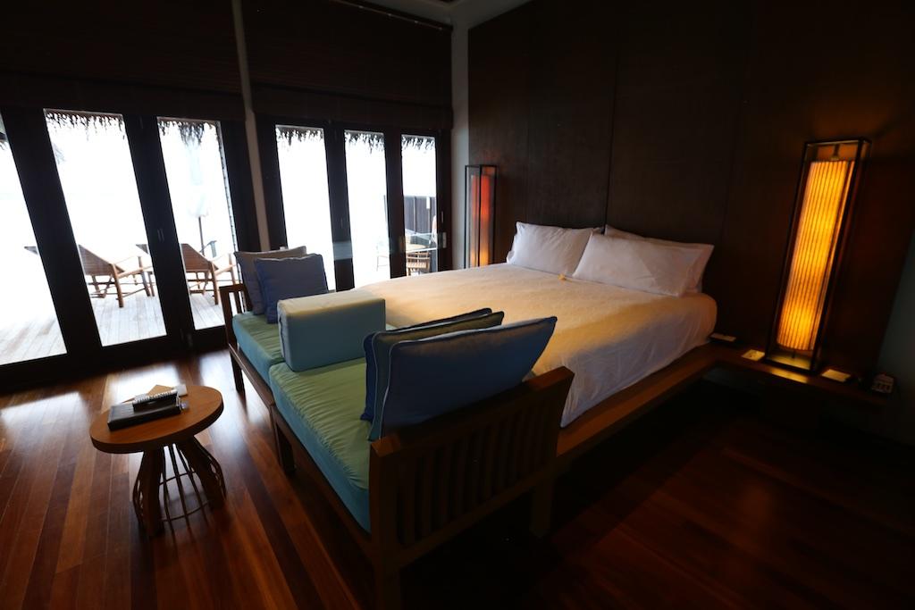 Conrad Maldives Retreat Water Villa bed.
