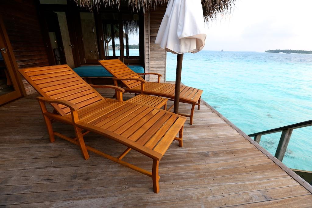 Conrad maldives Retreat water villa deck.