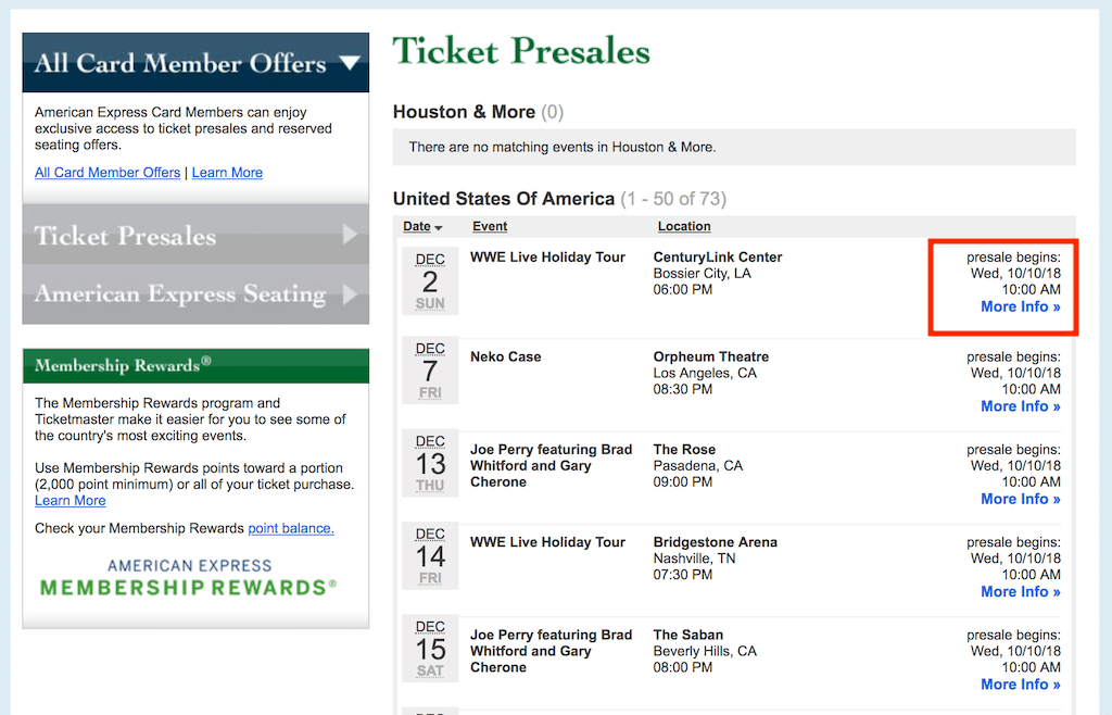List of eligible presale tickets