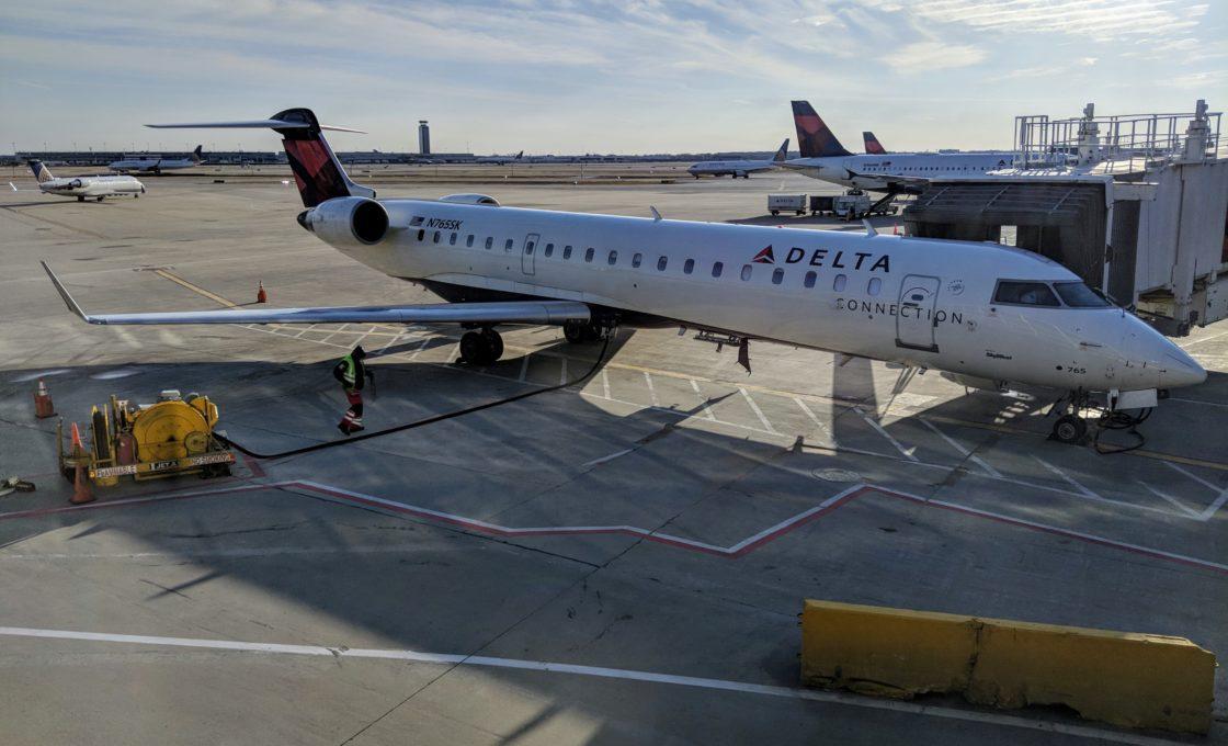 Delta plane on tarmac
