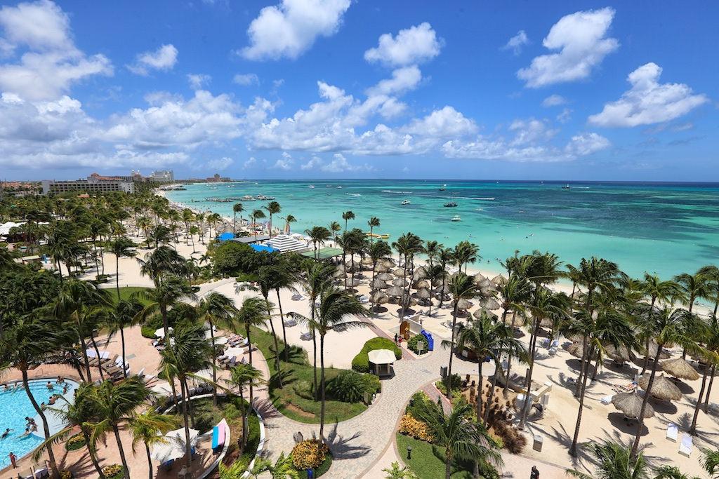 Photo of a Marriott resort on the beach.