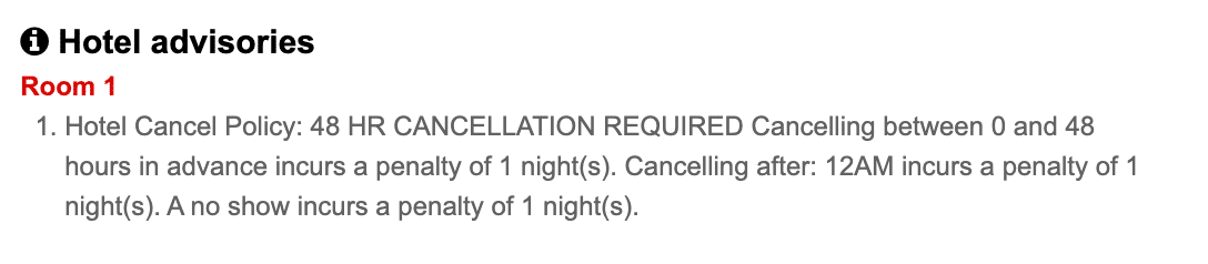 Screenshot of a hotel cancellation policy