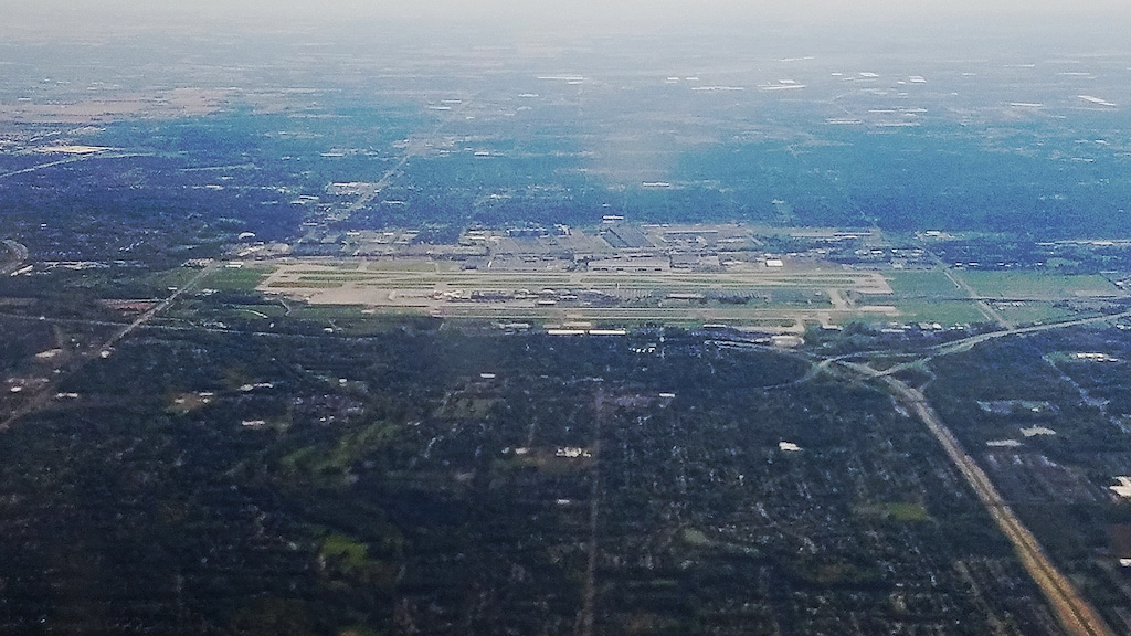 Aerial view of John Glenn Columbus International Airport
