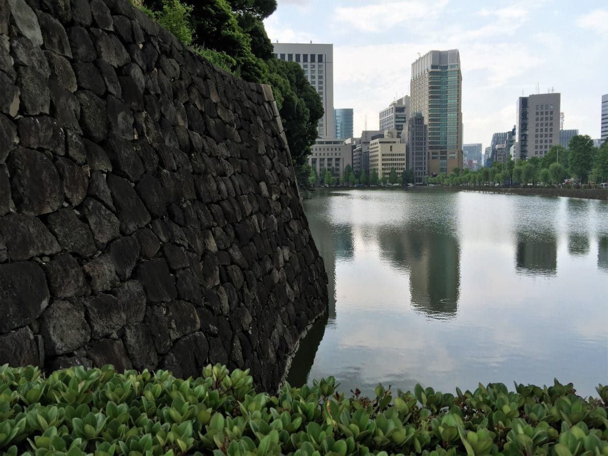 Imperial Palace moat and the city
