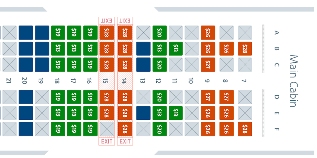 Main Cabin Extra seat map.