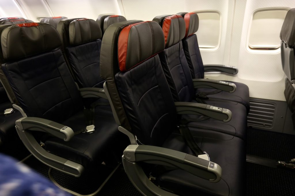 American Airlines row of seats in airplane