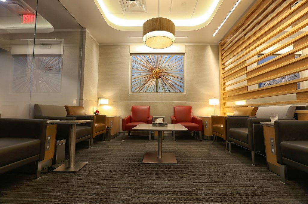 Sitting area at American Airlines Admirals Club Houston IAH