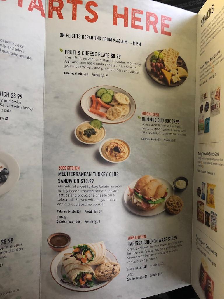 American Airlines Main Cabin menu.