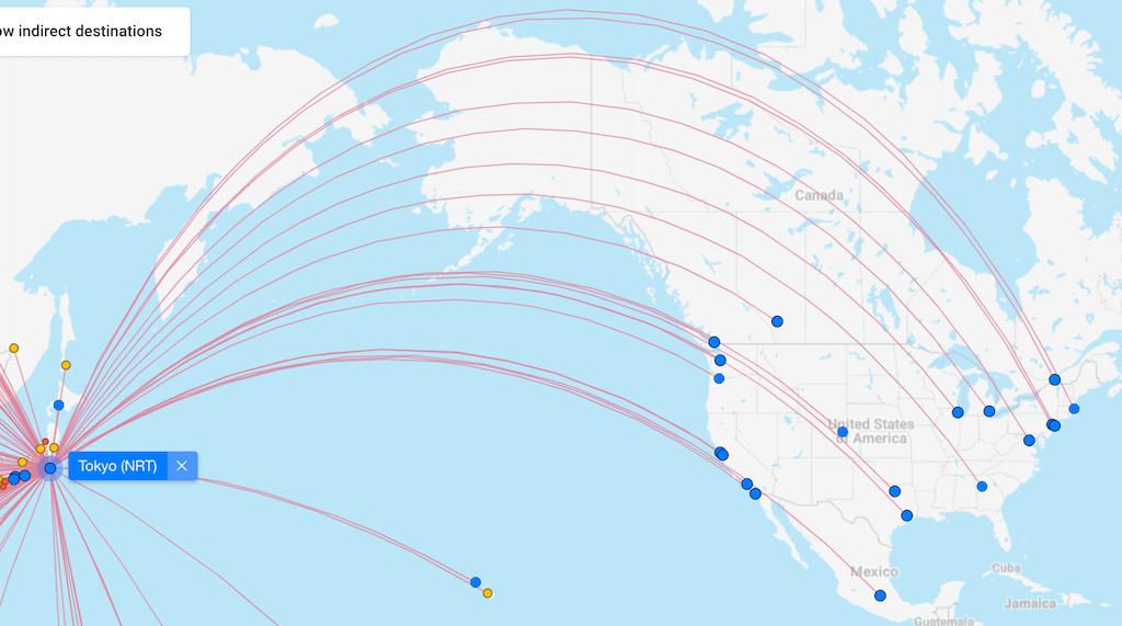 Tokyo flight routes