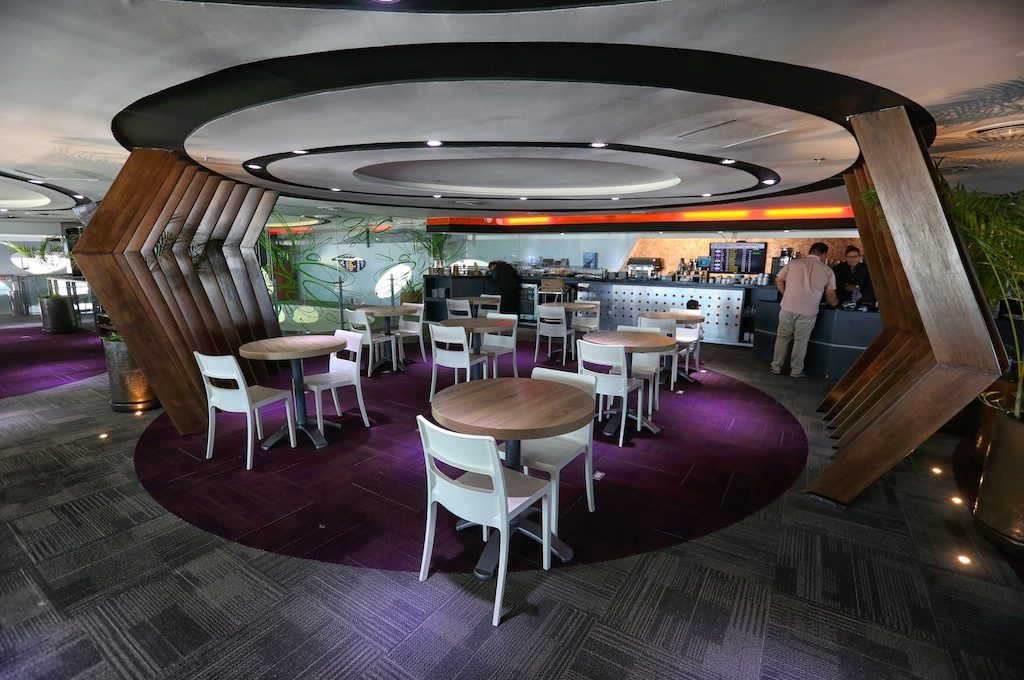 Dining area in airport lounge