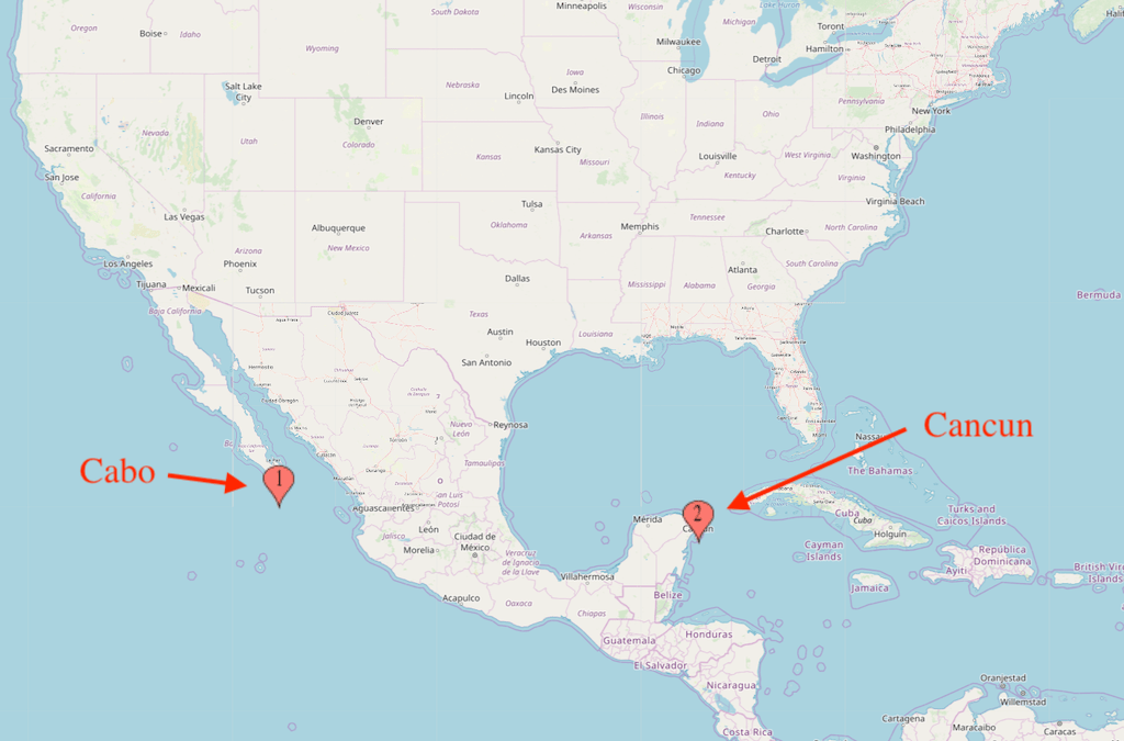 Cabo and Cancun map
