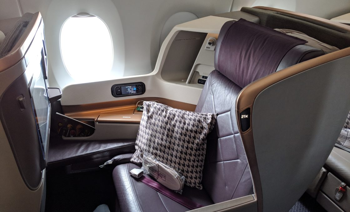 Photo of a business class seat on Singapore Airlines