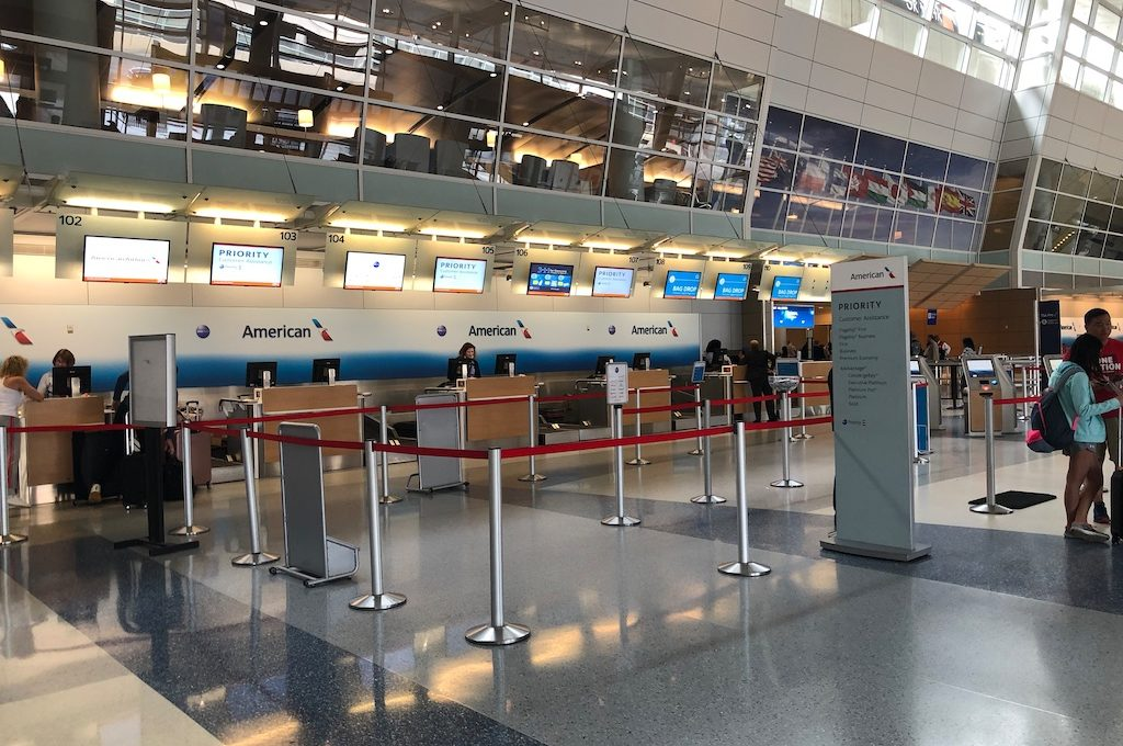 Priority check-in area for first class passengers at airport