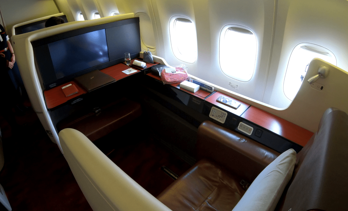 JAL first class suite with three windows