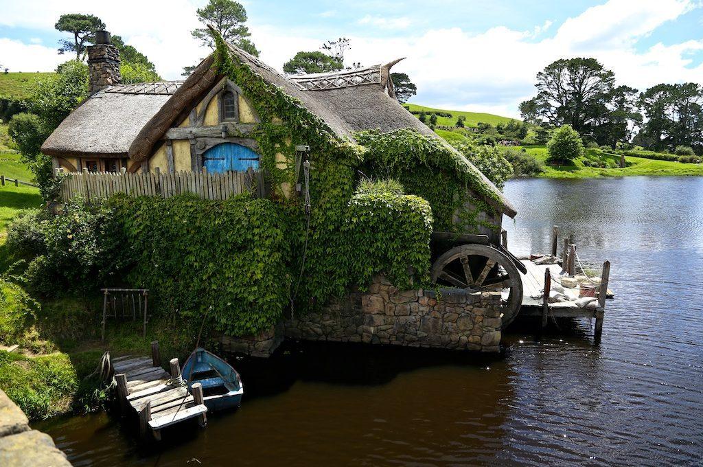 House on a lake at Hobbiton Movie Set.