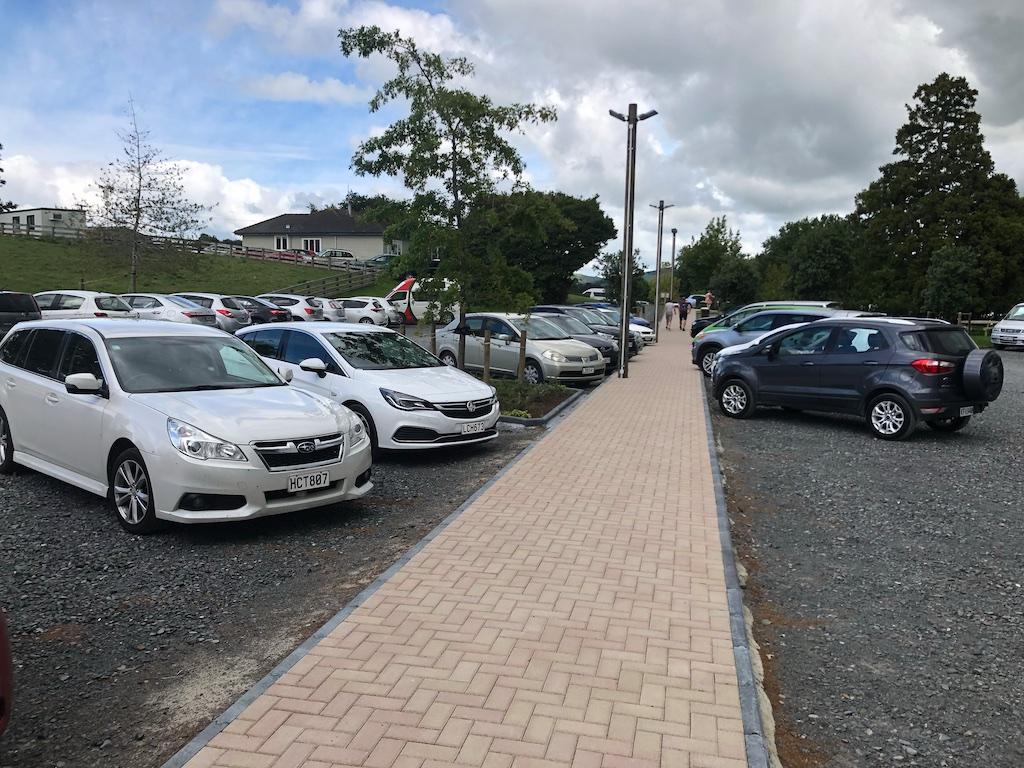 Parking lot at Hobbiton Movie Set Tour