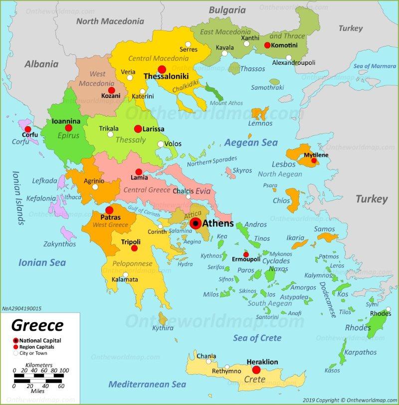 Map of Aegean sea