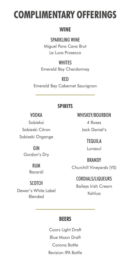 Photo of a Escape Lounge drink menu.