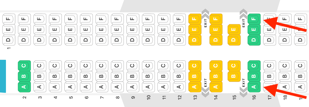 Seat map of a Boeing 737 max 8