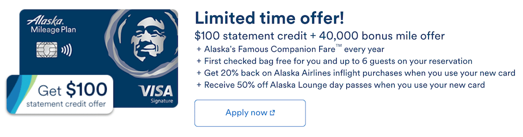 Screenshot of special offer containing $100 statement credit