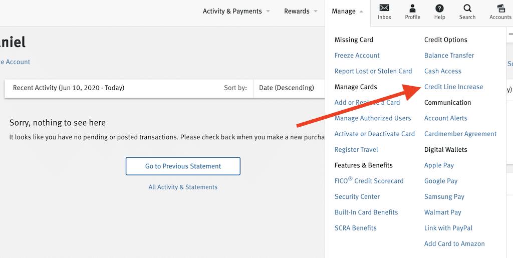 Discover credit line increase menu option