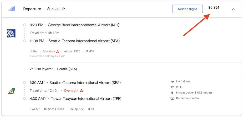 Screenshot showing price of flight on Google flights