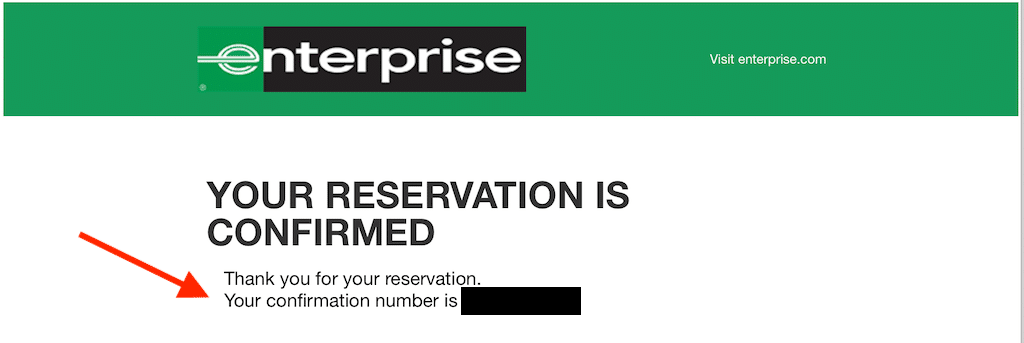 Screenshot of a confirmation email