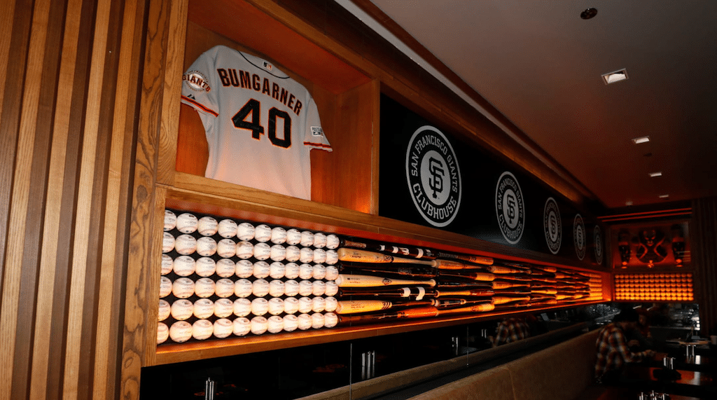 Wall of memorabilia at San Francisco Giants Clubhouse at SFO.
