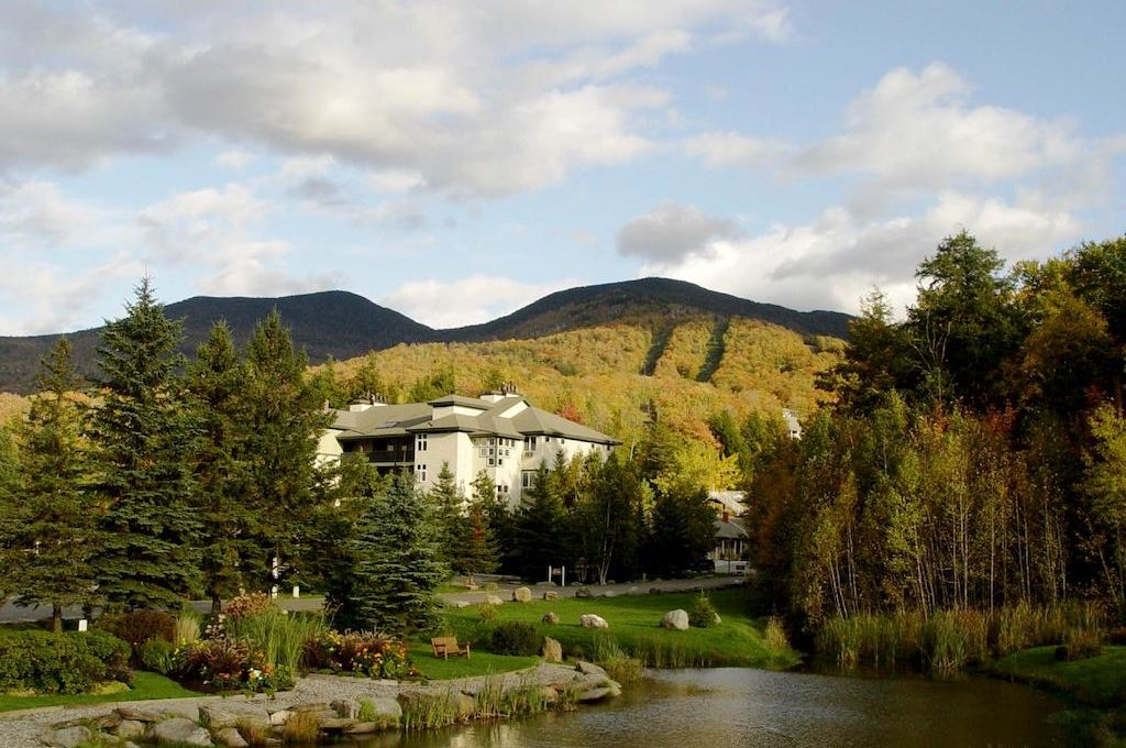 Forest, mountains and river at Smugglers' Notch Resort.