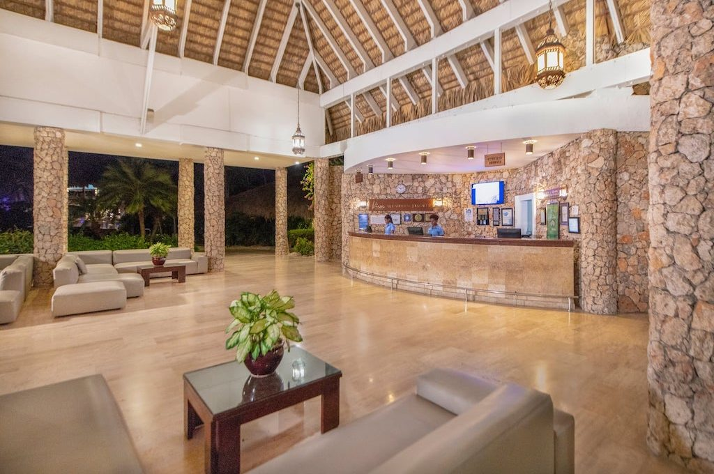 Check-in counter at Viva Wyndham Dominicus Beach.