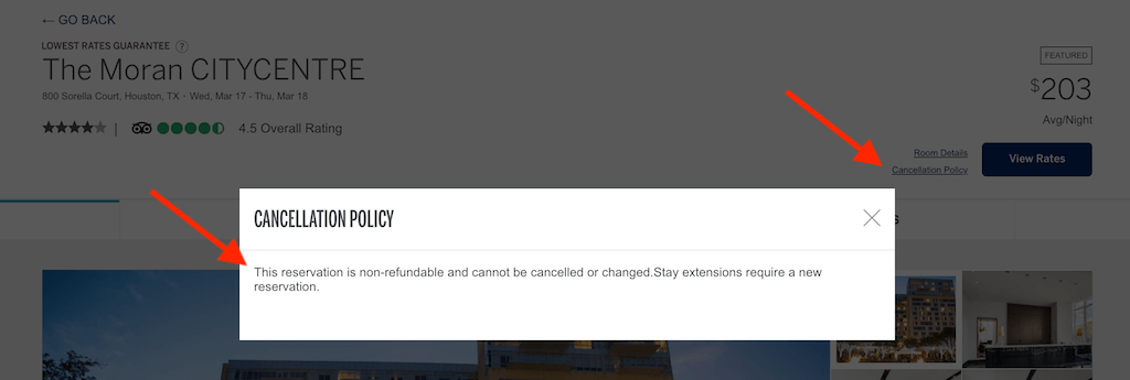 Screenshot showing cancellation policy for hotels on Amex travel