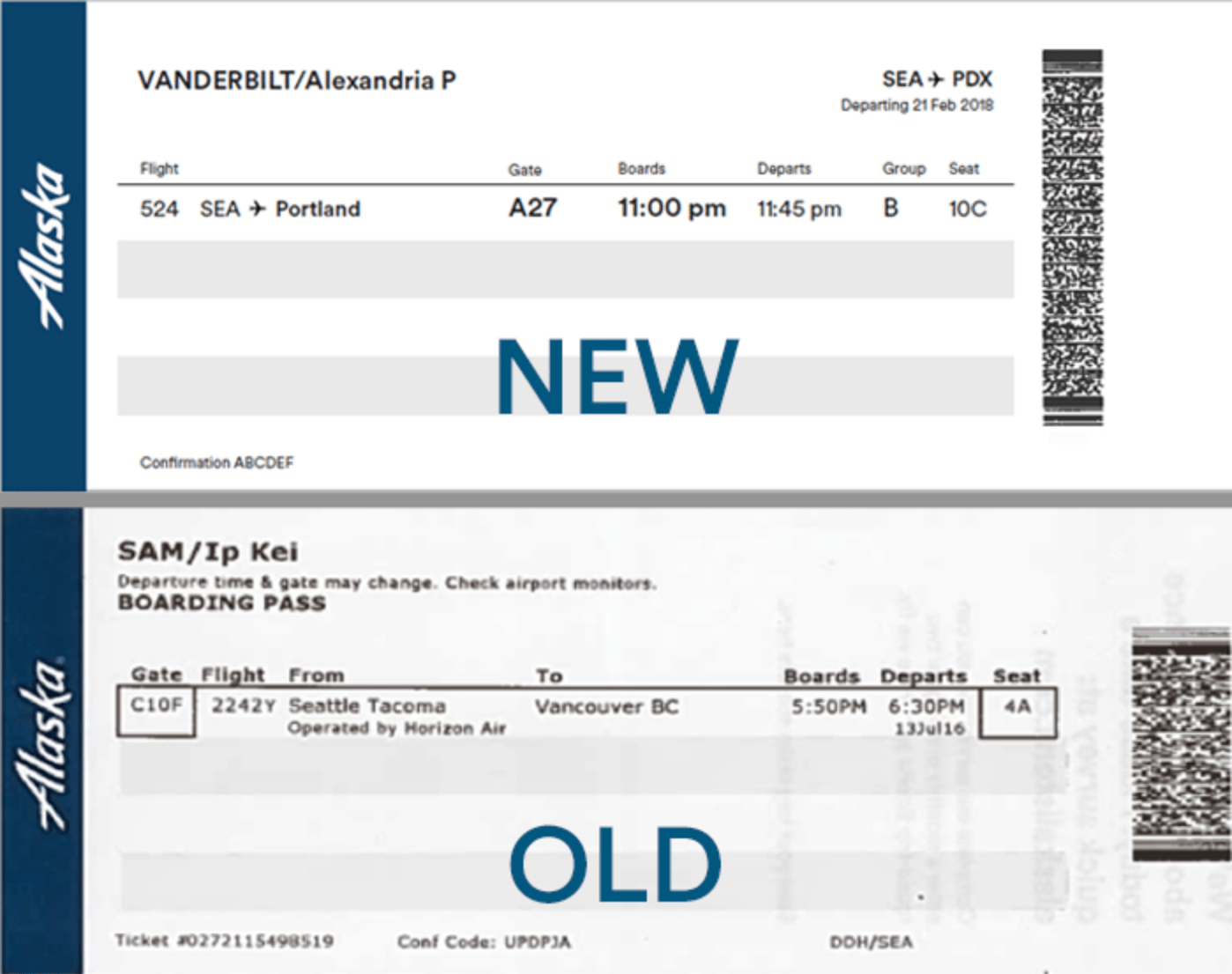 New Alaska boarding pass compared to old