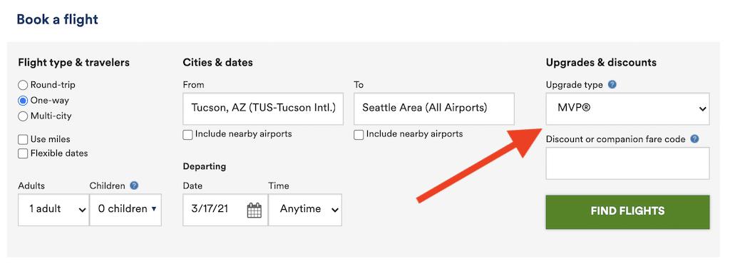 Screenshot of Alaska website showing how to select upgrade.