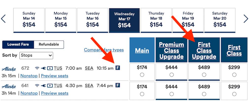 Screenshot of Alaska website showing upgrade prices.