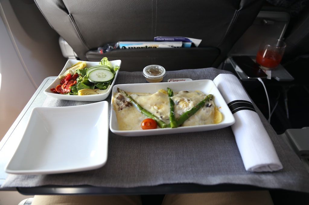 Meal on tray table