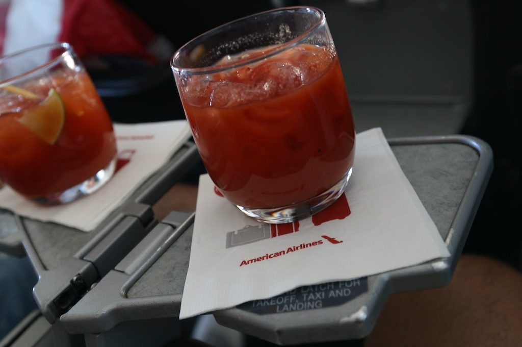 Bloody Mary on seat cocktail tray.